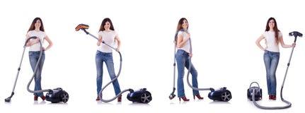 妇女清洁拼贴画与吸尘器的 图库摄影