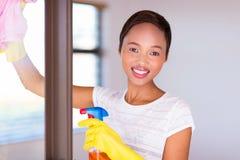 妇女清洁玻璃窗 免版税库存照片