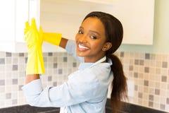 妇女清洁碗柜 免版税图库摄影