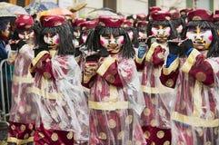 妇女演奏长笛在巴塞尔狂欢节在巴塞尔,瑞士 库存照片