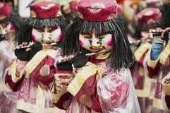 妇女演奏长笛在巴塞尔狂欢节在巴塞尔,瑞士 库存图片