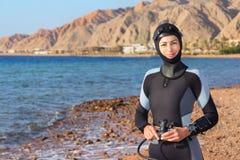 妇女潜水员 免版税图库摄影