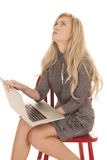 妇女灰色企业礼服坐膝上型计算机查寻 免版税库存图片