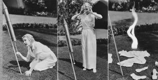 妇女照明设备火箭三张相联和爆炸(所有人被描述不更长生存,并且庄园不存在 供应商warran 免版税库存图片