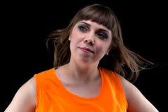妇女照片有吹的头发的 免版税图库摄影