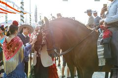 妇女爱抚的马和穿戴在传统服装在塞维利亚` s 4月市场 免版税库存图片