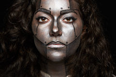 妇女特写有被绘的面孔的 库存照片