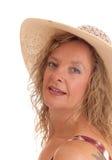 妇女特写镜头有秸杆的有帽子 免版税库存照片