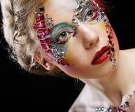 妇女特写镜头画象有艺术性的构成的 免版税库存照片