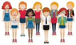 妇女用不同的服装 库存例证