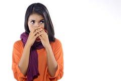 妇女用流感饮料热的茶 库存照片