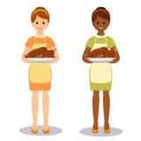 妇女用烤火鸡 库存照片