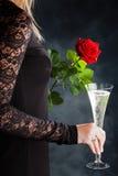 妇女用香槟 免版税图库摄影
