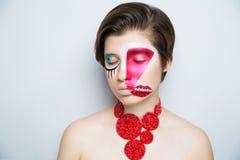 妇女疯狂的艺术组成嘴唇眼睛 库存图片