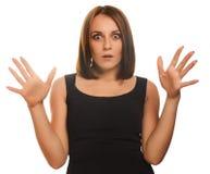 妇女疲倦了痛苦女孩重音头疼,举行他的 免版税库存照片