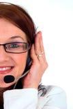 妇女的企业接近的话筒 免版税图库摄影