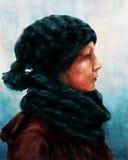 妇女的冬天纵向 免版税库存照片