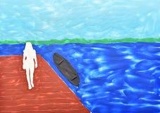妇女的剪影反对湖的 免版税库存照片