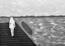 妇女的剪影反对湖的 图库摄影