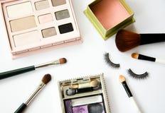 妇女的化妆用品。 库存图片