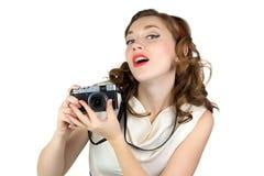 妇女的图象有减速火箭的照相机的 免版税库存图片