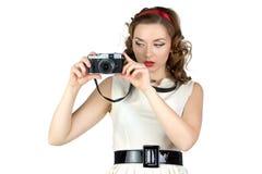 妇女的图象有照相机的 免版税库存图片