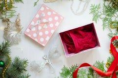 妇女的圣诞节镀金面 在装饰Ne的红色鞋带女用贴身内衣裤 免版税库存照片