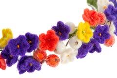 妇女的在花和莓果头的首饰花圈  免版税库存图片