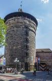 妇女的塔(Frauentorturm)在纽伦堡,德国, 2015年 库存照片