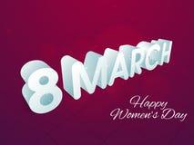 妇女的天庆祝的光滑的3D文本 免版税库存照片