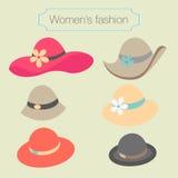 妇女的帽子的时尚汇集 图库摄影