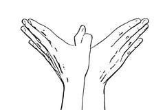 妇女的手做鸟形状,黑白向量图形 库存例证