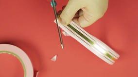 妇女的手节约空白的桃红色丝带的做的礼物弓 红色背景 股票录像