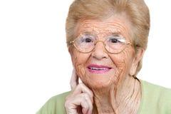 妇女的接近的纵向前辈 免版税库存照片