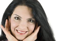 妇女的接近的表面微笑 免版税库存照片