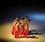 妇女的欲望现代芭蕾:中华的金莲花 免版税库存照片