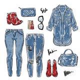 妇女的牛仔裤的手拉的传染媒介时尚收藏浅兰 库存例证
