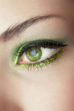 妇女的眼睛有绿色构成的 免版税图库摄影