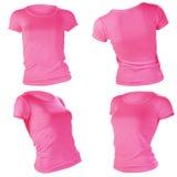 妇女的空白的桃红色T恤杉模板 库存照片