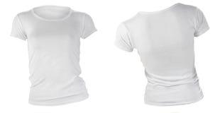 妇女的空白的白色T恤杉模板 库存照片