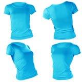 妇女的空白的蓝色T恤杉模板 免版税库存图片