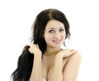 妇女的美丽的接近的纵向 免版税库存图片