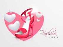 妇女的脚跟凉鞋和时髦的文本 库存例证