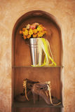 妇女的脚跟和婚礼 库存照片