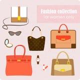 妇女的袋子和辅助部件的时尚汇集 库存照片
