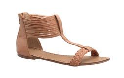 妇女的被编织的凉鞋鞋子 免版税库存图片