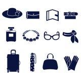 妇女的辅助部件的不同的类型 免版税库存图片