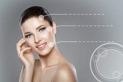 妇女的面孔有蓝眼睛的和清洗新鲜的皮肤 美好的微笑和白色牙 库存图片