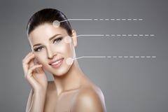 妇女的面孔有蓝眼睛的和清洗新鲜的皮肤 美好的微笑和白色牙 免版税库存照片