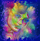 妇女的面孔的现代数字式艺术图象,关闭有五颜六色的抽象背景 免版税图库摄影